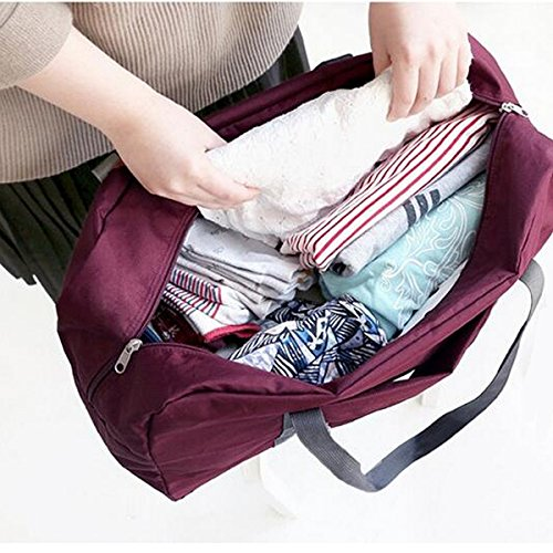 viaggio portatile immagazzinaggio Mejoy capacità borse da viaggio impermeabile ripiegabile zipper bagagli organizer mano borse a tracolla, Wine Red, 18.5 x 16 x 4 cm Wine Red