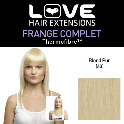 Love Hair Extensions - LHE/FRK1/QFC/CIF/60 - Thermofibre™ - Clip-In Frange Complet - Couleur 60 - Blond Pur
