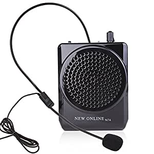 N74 Black Waistband Voice Amplifier Microphone Speaker Voice Amplifier 15watts Portable for Teachers, Coaches, Tour Guides, Presentations, Costumes, Etc. Built-in Rechargeable Lithium-ion Battery, Music Play Function Supports USB TF Card
