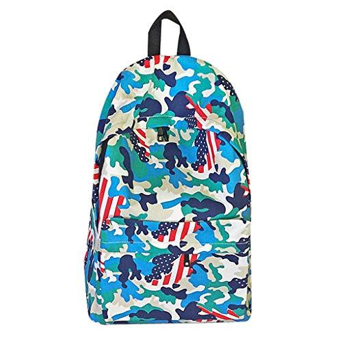 VECOLE Rucksäcke Damen Herren Unisex Camouflage-Studententasche mit großem Fassungsvermögen und Cartoon-Print Schulranzen Outdoor-Shopping Reiserucksack(Himmelblau)