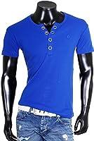 Young & Rich Herren Uni feinripp T-Shirt mit Knopfleiste & tiefem Ausschnitt deep V-Neck einfarbig big buttons große Knöpfe 1872