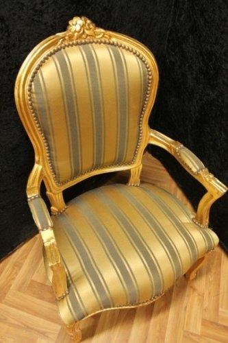 LouisXV Barock Sessel Blatt gold grüner Bezug