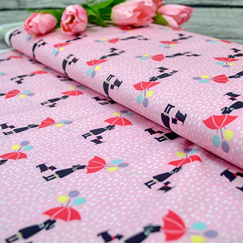Emily&Joe's fabrics 100% Baumwolle April Showers rosa Regen Mädchen mit Regenschirm und Hund, 25cm pro Stück (April Showers-stoff)