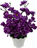#7: Bageecha Garden's Artificial Flower with Wooden Vase(10 inchs/ 25 cms) For Indoor And Outdoor Decoration Of Your Office and Home (Purple)