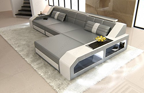 Divanova | divano moderno antares angolare in similpelle - grigio e bianco