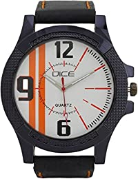 DICE Black-Track G 5405 Analog Wrist Watch for Men. Stylish Case, White Dial, Leather Strap.