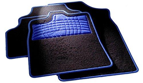 Preisvergleich Produktbild CarFashion 254574 Universal Fussmatten Set | Trittschutz und Kettelung in Blau | Ohne Mattenhalter, Automatte Passend für Viele Auto Typen