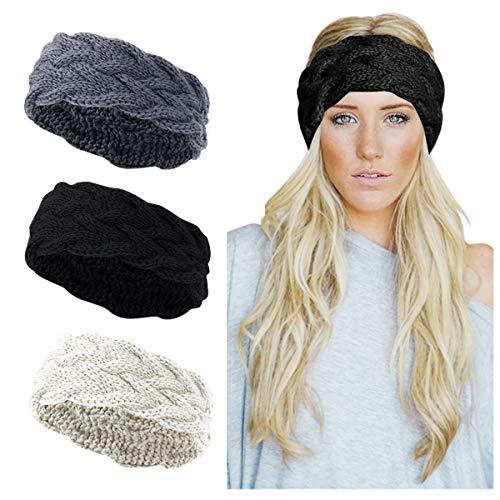 KQueenStar Damen Gestrickt Stirnband -1/2/3/4 Stück Elastische Häkelarbeit Headwrap Design Stirnbänder Winter Kopfband Haarband Crochet Headwrap Ohr Wärmer (schwarz + weiß + grau)