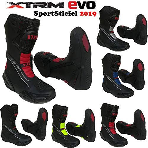 Leder MotorradStiefel XTRM EVO Motorradschuhe, Rüstungsstiefel, Sportstiefel, Allroundstiefel, TourenSchuhe für Männer und Frauen, Mehrere Farben (Blau,EU 44/10)