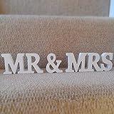 Musuntas® Dekoration Hochzeit aus Holz, Mr & Mrs Holz Buchstaben, Hochzeitsgeschenk 21cmX 10cm X 1.5cm - 3