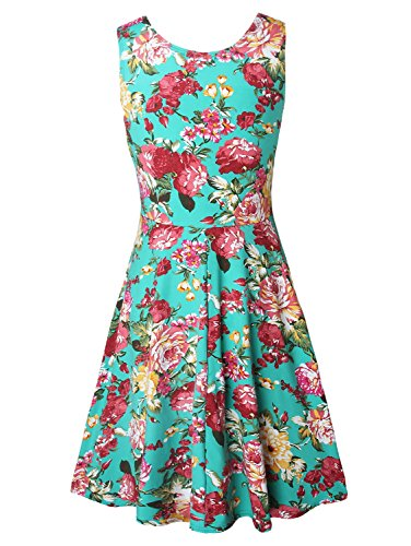 Damen Vintage Sommerkleid Traeger mit Flatterndem Rock Blumenmuster Grün