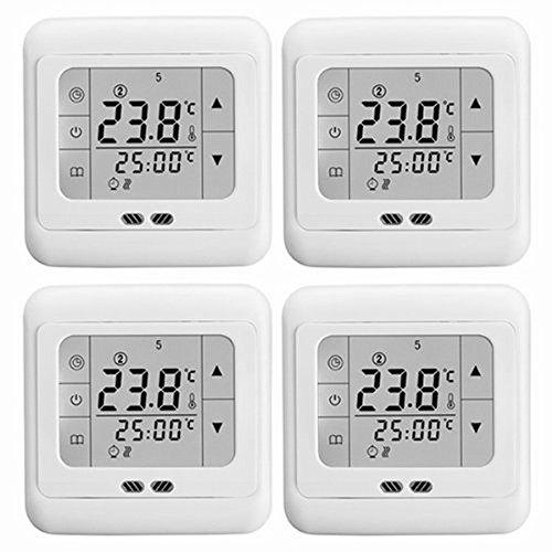 SAILUN 4 Stück / Set Raumthermostat Digital Thermostat Programmierung Raumthermostat Heizungs Raum Temperatur Regler mit LCD TouchScreen Weiß Für Wade, Fußbodenheizung, Die Heizung Wand, Elektrische Usw (4 Stück / Set) (Vier Stück Wand-einheit)