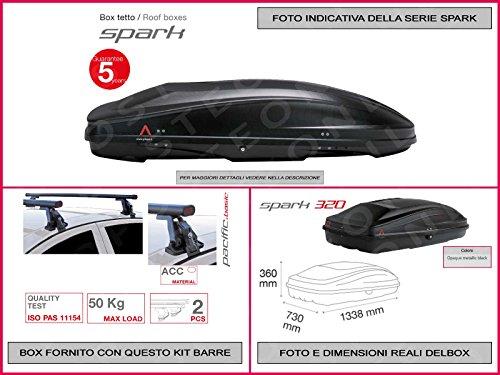 Kit Box SPARK 320 Lt 1338 X 730 X 360 compreso Barre Portatutto Portapacchi Fiat Punto Evo 5 Porte dal 2009 in avanti