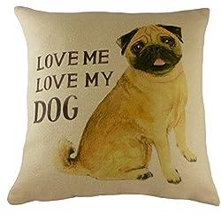 Cojín 'Love Me Love My de perro carlino