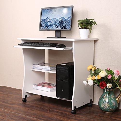 Aimado scrivania tavolo per computer con ruote porta pc ufficio, con vassoio da tastiera scorrevole ripiani per libri stampante cpu, bianca nera 80 x 40 x 78.5 cm, 【eu stock】