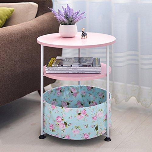 Folding table NAN 3 Tier Sofa Beistelltisch, Kunsttisch Telefon/Kaffee/Beistelltisch/Lagerregal (Farbe : - Pink Kaffee-tisch-bücher