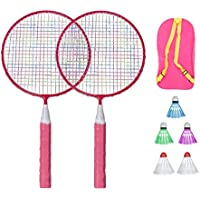 BESPORTBLE Bádminton para Niños con Raquetas Junior Raqueta de Tenis Juego de Playa (Rosa)