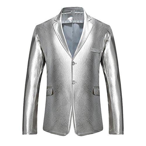 Uomo slim fit blazer casual giacca di paillettes elegante vestito di affari argento s