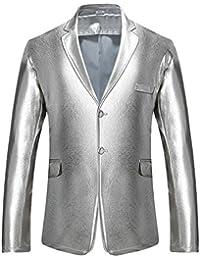 Moollyfox Uomo Slim Fit Blazer Casual Giacca di Paillettes Elegante Vestito  di Affari e9a40357cb2