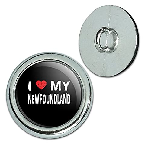 Metall Craft Nähen Neuheit Tasten–Set von 4–I Love My Dog k-p, metall, Newfoundland