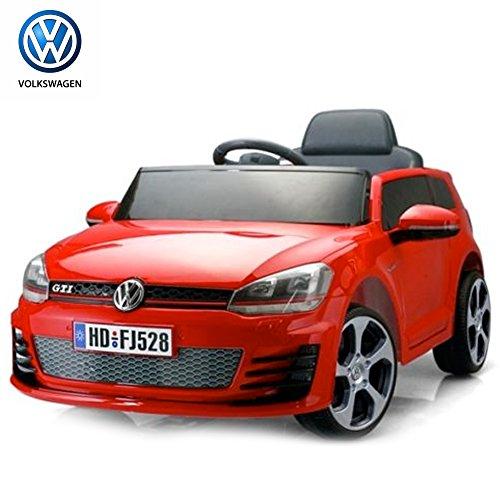Bakaji Auto Elettrica per Bambini 12V Volkswagen Golf 1Posto SD con Radiocomando colore Rossa, con luci a LED, attacco Aux MP3, portiere Apribili e Cintura di sicurezza