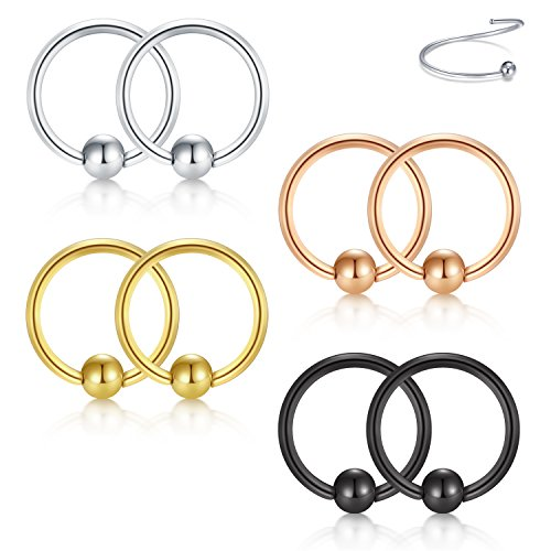 Briana Williams 22G 8mm Nose Hoop Lip Eyebrow Lip Helix Tragus Cartilage Septum Piercing Ring 8-12PCS