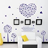 Ascent Decals Purple Heart And Tree Wall Sticker For Living Room