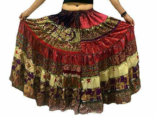 1 - 7 Yard Tribal Zigeuner Maxi Tiered Rock Bauchtanz Röcke Seide Blend Banjara Passend für S M L XL, ONE GRÖSSE 34 - 46 (WARME (Spanisch Tanz Kostüme)