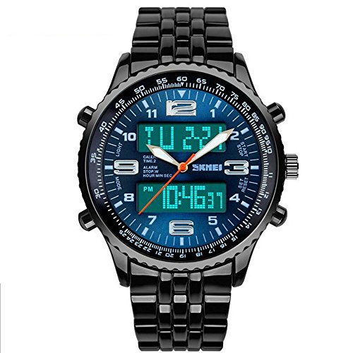 Sunjas Mens Water Resistant Sport Watches LED Analog Digital Display Quartz Wrist Watch With Alloy Case