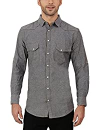 Nick&Jess Mens Grey Solid Cotton Denim Full Sleeve Shirt