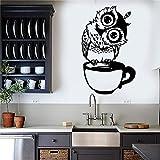 HNXDP divertente cartone animato gufo tazza di tè caffè vinile adesivo per cucina adesivi complementi arredo casa soggiorno sala da pranzo wall sticker 22 nero 35x57 cm