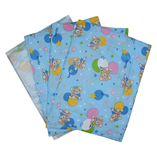 Littly Multipurpose Baby Cotton Sheets with Waterproof Base, Pack of 4 (Blue)