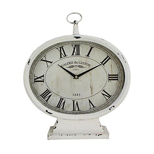 Kaminuhr GALERIE DU GASTON weiß shabby chic Uhr antik franske Tischuhr Landhaus