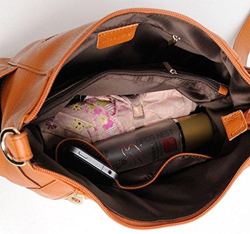 Keshi Leder neuer Stil Damen Handtaschen, Hobo-Bags, Schultertaschen, Beutel, Beuteltaschen, Trend-Bags, Velours, Veloursleder, Wildleder, Tasche Braun