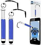 iTALKonline ZTE F952 Blau Premium VERSENKBARE MINI Captive Touch Tip Stylus Pen mit Gummi Tip und 3,5 mm Headset-Buchse Dangley Adapter