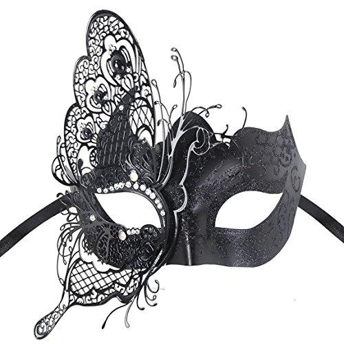 Kapmore Womens Maskerade Maske Swan Schwarz Halloweenmaske Metall Filigran Maske (Butterfly Black)