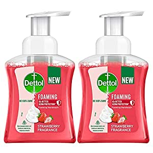 Dettol Foaming Handwash Pump - Strawberry (Pack of 2-250ml each)   Rich Foam   Moisturizing Hand Wash   Soft on Hands, Red