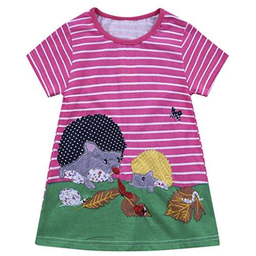 (JERFER Kleinkind Infant Baby Kinder Mädchen Cartoon Kleider Gestreifte Tiere Outfits Kleidung)