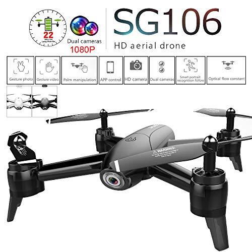 squarex SG106 2,4 GHz 4CH Haltung Halten WiFi 1080P Optischer Fluss Dual Kamera RC Quadcopter Drohne, EIN Taste ZURÜCK / Landen, Einfach für Anfänger zu Lernen (Schwarz)