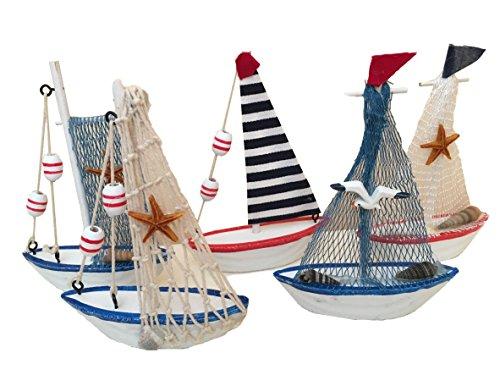 5 Stück hochwertige Deko Schiffe Boote Dekoration Tischdeko Schaufenster Dekoration Partydeko Tisch Selgelschiff Strand See Meer Urlaubsdeko von MEIERLE & Söhne -