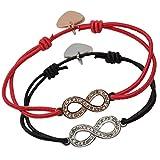 Chakra Naturals Armbänder - Set mit 2 verstellbaren Kordelarmbändern mit hochwertiger Zinklegierung - Unendlichkeit