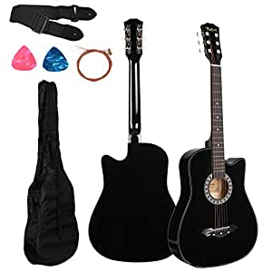 Photron Acoustic Guitar, 38 Inch Cutaway with Pick Guard, PH38C/BK with Bag, Strings, Pick and Strap, Black