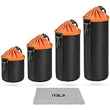 YRMJK (Paquete de 4) de espesor DSLR Camera Drawstring Lens bolsa Bolsa bolsa de neopreno de protección para DSLR Lente de cámara para Canon Nikon Sony Olympus Cámaras (S, M, L, XL)