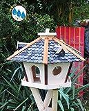 Futterhaus,Vogelhäuser wetterfest, mit Silo / Futtersilo für Winterfütterung, Vogelvilla XXXL Vöglehus SR60atOS Vogelhäuschen, Vogelvilla schwarz anthrazit lackiert Holzschindeln ohne Ständer