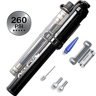 AceFox Mini Bike Pump High Pressure with Flexible Hose Compatible for Presta & Schrader Valve 260 PSI (Black) by AceFox