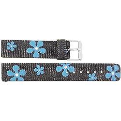 Watch Strap in Jeans Jeans - 18mm - - buckle in Silver stainless steel - B18JeaItr53S