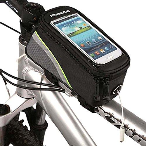 WAZA Rahmentasche Fahrradtasche, Lenkertasche Wasserdicht Fahrrad Motorrad Fahrradtasche Gepäckträger Lenker Universal 5.2 Zoll