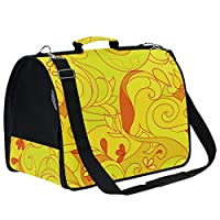 AMONKA Yellow Abstract Pattern Pet Carriers for Small Medium Cats Dogs Collapsible Puppy Travel Carrier Bag with Replacement Comfy Mat