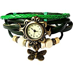 Bohemian Style [Waterproof] Retro Handmade Leather [Butterfly Charm Pendant Wrist Watch] Fashionable Luxury Stylish Weave Around [Wrap Watch Bracelet] For Women Ladies Girls [Scratch Resistant] Green