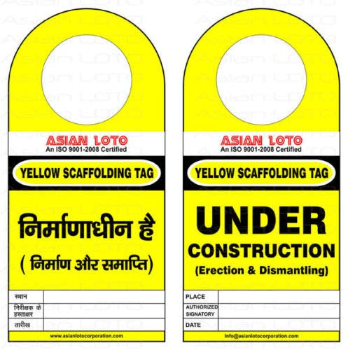 Asian LOTO Scafftag Scaffolding Standard Inspection Lockout Yellow Tag Set of 10